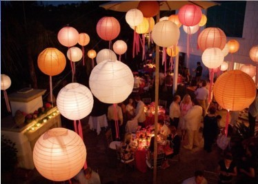 Lanterne boule papier japonaise 40 cm for Lanterne japonaise de jardin pas cher